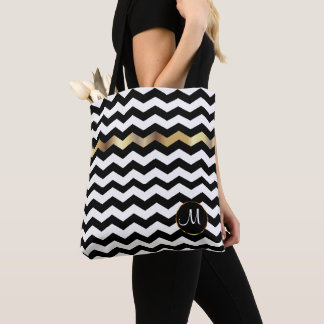 Monogram Gold, White & Black Chevron Design Tote Bag