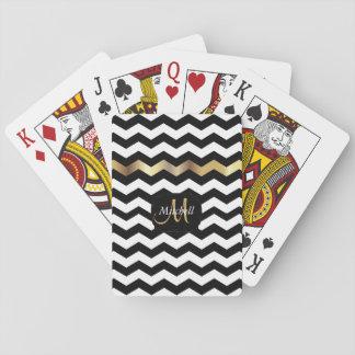 Monogram Gold, White & Black Chevron Stripes Playing Cards