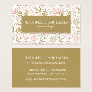 Monogram Golden Anchor Pattern Business Card