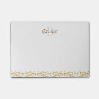 Monogram Golden Damask Post-it® Notes