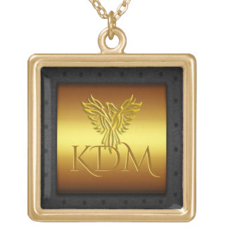 Monogram, Golden Eagle, riveted steel-effect frame Gold Plated Necklace