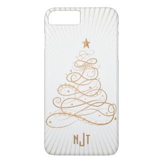 Monogram  Golden Filigree Christmas Tree iPhone 8 Plus/7 Plus Case