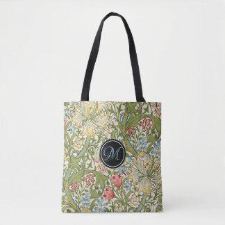 Monogram Golden Lily Floral Tote Bag