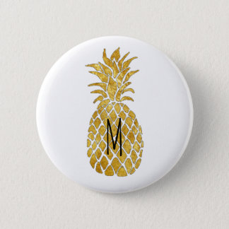 monogram golden pineapple 2 inch round button