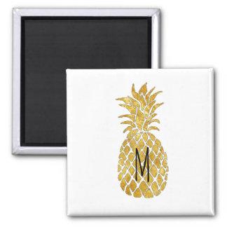 monogram golden pineapple square magnet