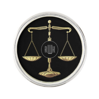 Monogram | Golden Scales of Justice Lapel Pin