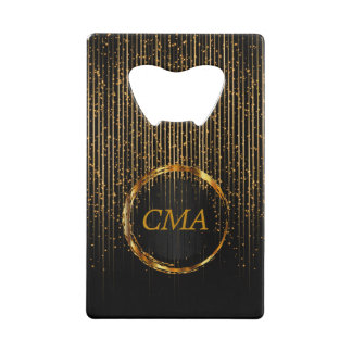Monogram Golden Star Lights on Black Wallet Bottle Opener