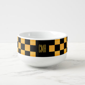 Monogram Golden Yellow and Black Checkered Squares Soup Mug
