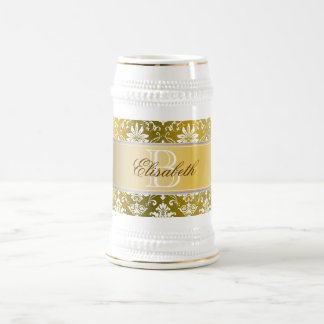 Monogram Golden Yellow and White Damask 18 Oz Beer Stein