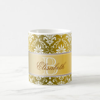 Monogram Golden Yellow and White Damask Coffee Mug