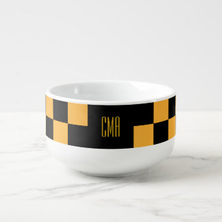 Monogram Golden Yellow Checkered Squares Soup Mug