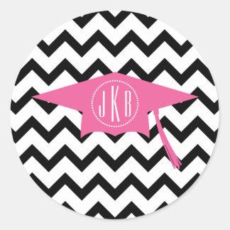 Monogram Graduation Cap Pink + Black Chevron Classic Round Sticker