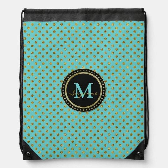 Monogram | Graphic Gold Aqua Polka Dots Cinch Bags