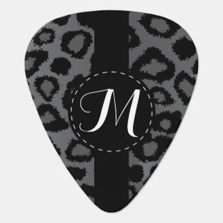 Monogram Gray And Black Leopard Pattern Guitar Pick