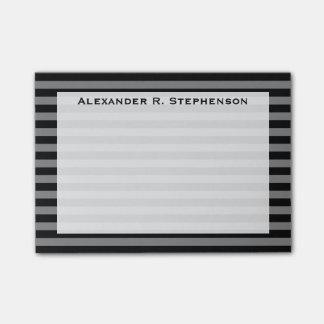 Monogram Gray and Black Stripe Post-it Notes