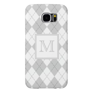 Monogram Gray and White Argyle Samsung Galaxy S6 Cases