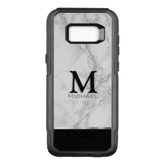 Monogram Gray and White Marble Design OtterBox Commuter Samsung Galaxy S8+ Case