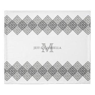 Monogram Gray Black And White Greek Key Motif Duvet Cover