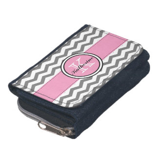 Monogram Gray Chevron and Pink Wallet