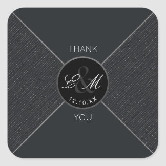 Monogram Gray Geometric Wedding Thank You Sticker