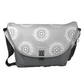 Monogram Gray Modern Medallion Pattern Courier Bags
