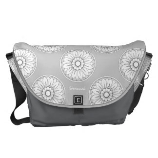 Monogram Gray Modern Medallion Pattern Messenger Bags