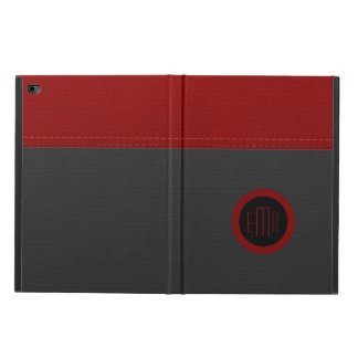 Monogram Gray & Red Faux Leather Powis iPad Air 2 Case