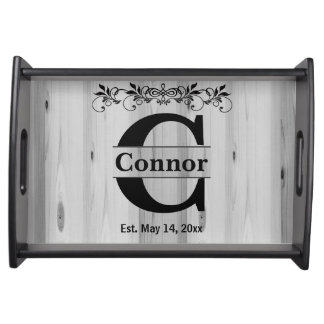 Monogram Gray Wood Serving Tray