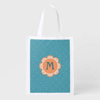 Monogram Greek Key Grocery Reusable Bag