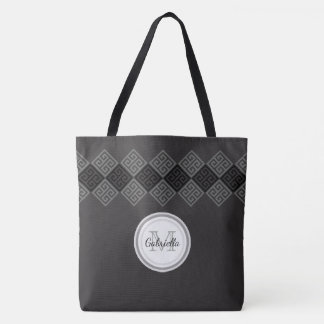 Monogram Greek Key Motif Tote Bag