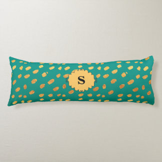 Monogram Green and Gold Confetti Body Pillow