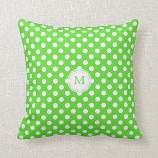 Monogram: Green  And White Polka-dot Pillow