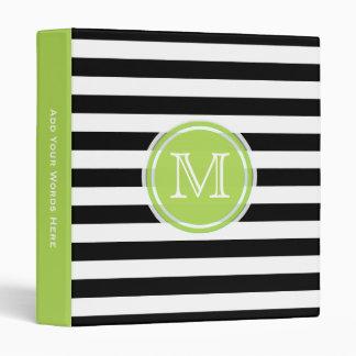 Monogram: Green Black And White Striped Binder