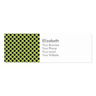 Monogram Green Black Cute Chic Polka Dot Pattern Mini Business Card