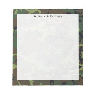 Monogram Green, Brown, Black Camouflage Notepad