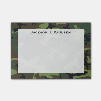 Monogram Green, Brown, Black Camouflage Post-it Notes