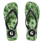 Monogram Green Camo Flip Flops