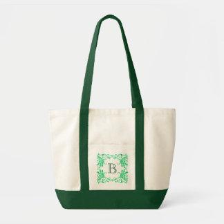 Monogram Green Damask