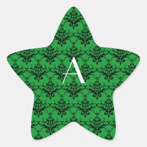 Monogram Green damask Stickers