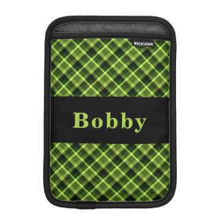 Monogram Green Diagonal Plaid iPad Mini Sleeve