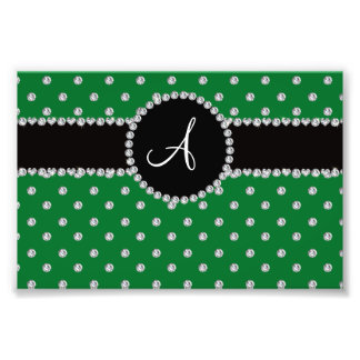 Monogram green diamonds polka dots photograph