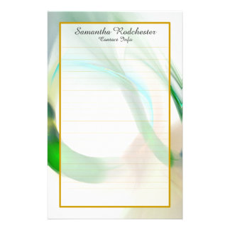 Monogram Green Feather Rings Fine Lined Stationery