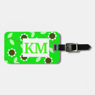Monogram Green Floral Luggage Tag