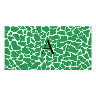 Monogram green giraffe print picture card