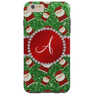Monogram green glitter christmas santa claus tough iPhone 6 plus case