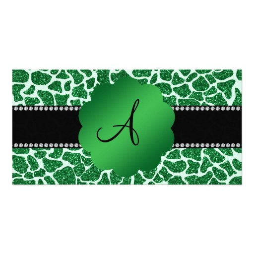 Monogram green glitter giraffe print photo cards