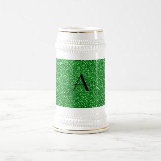 monogram green glitter mugs