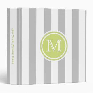 Monogram: Green Gray And White Striped Binder