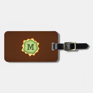 Monogram Green Ink Elegant Brown Luggage Tag
