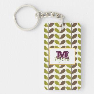 Monogram Green Leaf Personalized Keychain